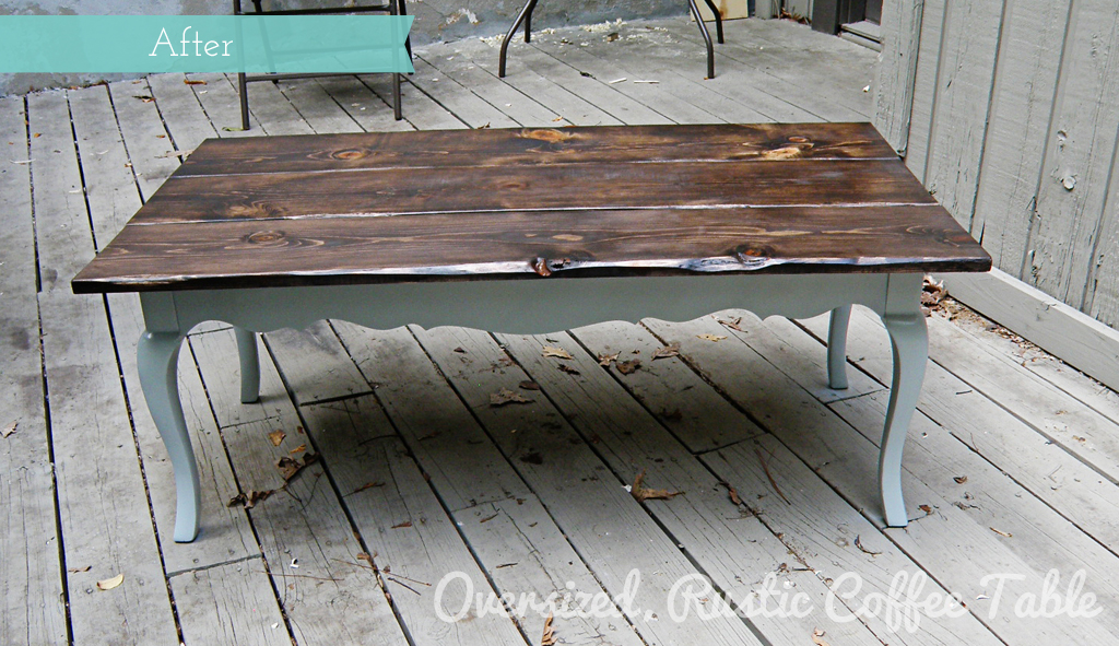 before after oversized rustic coffee table redo