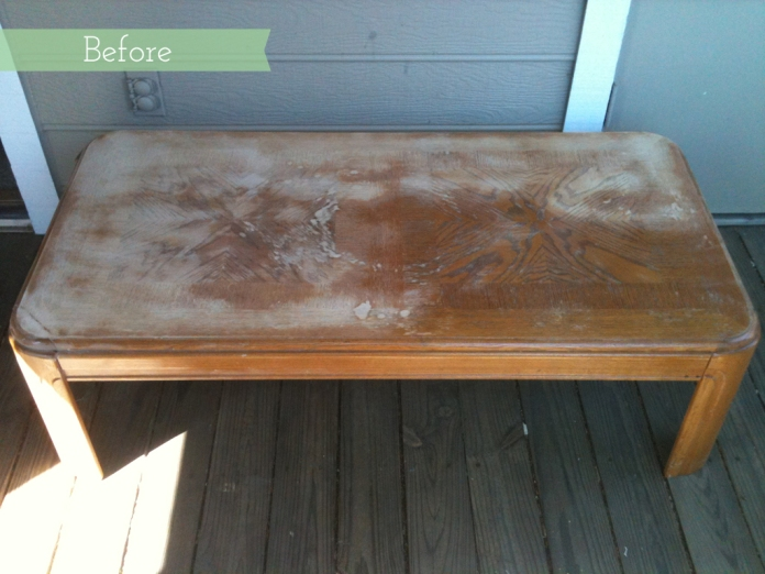 Do It Yourself Home Design: Before & After: Bold, Painted Herringbone Coffee Table